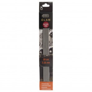 Elan: Knitting Pins: Stainless Steel: Double-Ended (Set of 5): 20cm x 3.25mm