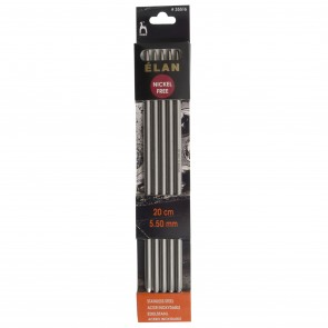 Elan: Knitting Pins: Stainless Steel: Double-Ended (Set of 5): 20cm x 5.50mm