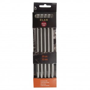 Elan: Knitting Pins: Stainless Steel: Double-Ended (Set of 5): 20cm x 10.00mm