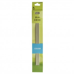 Coloured Knitting Pins: Double-Ended (Set of 5): Anodised Aluminium: 20cm x 2.50mm
