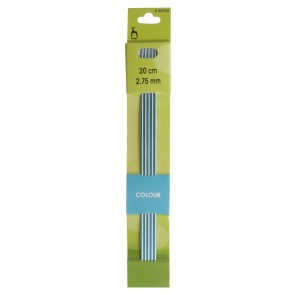 Coloured Knitting Pins: Double-Ended (Set of 5): Anodised Aluminium: 20cm x 2.75mm