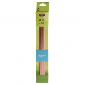 Coloured Knitting Pins: Double-Ended (Set of 5): Anodised Aluminium: 20cm x 3.00mm