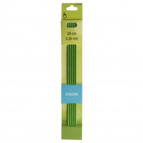 Coloured Knitting Pins: Double-Ended (Set of 5): Anodised Aluminium: 20cm x 3.25mm
