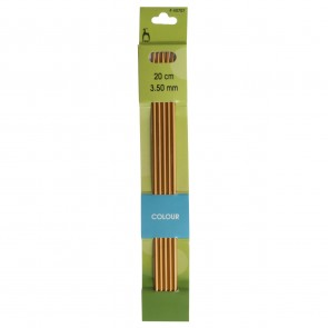 Coloured Knitting Pins: Double-Ended (Set of 5): Anodised Aluminium: 20cm x 3.50mm
