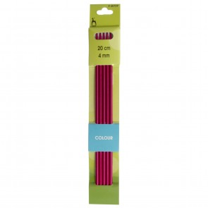 Coloured Knitting Pins: Double-Ended (Set of 5): Anodised Aluminium: 20cm x 4.00mm