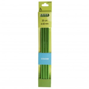 Coloured Knitting Pins: Double-Ended (Set of 5): Anodised Aluminium: 20cm x 4.50mm