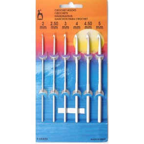 Aluminium Crochet Hooks: 6 Asstd Sizes: 2.00 - 5mm