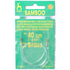 Bamboo: Cable: Knitting Pins: Circular: Interchangeable: Small: 40cm: Gld