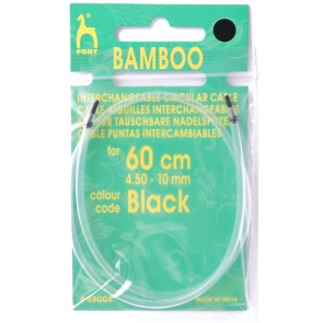 Bamboo: Cable: Knitting Pins: Circular: Interchangeable: Large: 60cm: Blk