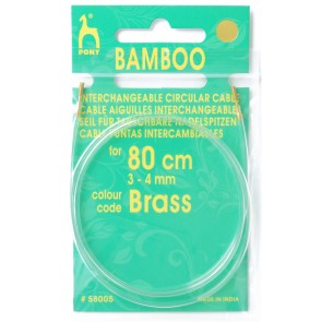 Bamboo: Cable: Knitting Pins: Circular: Interchangeable: Small: 80cm: Gld
