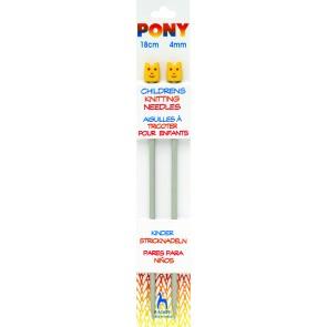 Childrens Knitting Pins: Single Ended: Aluminium: 18cm x 4.00mm