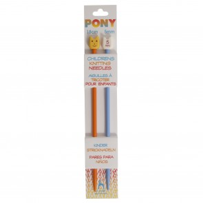 Children's Coloured Knitting Pins: Single-Ended: Plastic: 18cm x 5.00mm: Orange/Blue