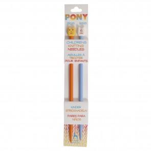 Children's Coloured Knitting Pins: Single-Ended: Plastic: 18cm x 6.00mm: Orange/Blue