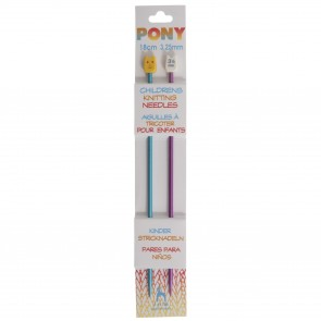Children's Coloured Knitting Pins: Single-Ended: Anodised Aluminium: 18cm x 3.25mm: Blue/Magenta