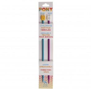 Children's Coloured Knitting Pins: Single-Ended: Anodised Aluminium: 18cm x 4.00mm: Blue/Magenta