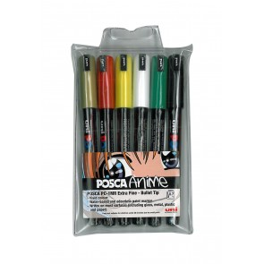 PC-1MR POSCA Marker Ultra Fine Bullet Tip 6pc Wallet Assorted