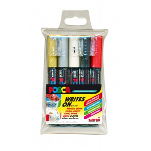 PC-1M POSCA Marker Extra Fine Bullet Tip 5pc Wallet Assorted