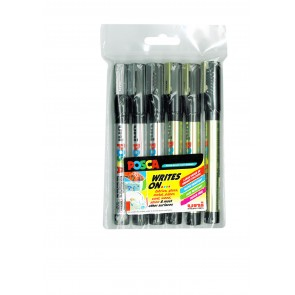 PC-3M POSCA Marker Fine Bullet Tip 6pc Pack Gold/Silver
