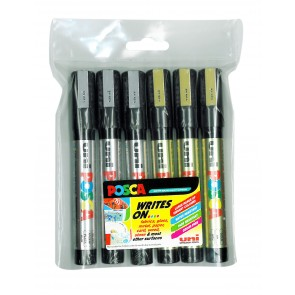 PC-5M POSCA Marker Medium Bullet Tip 6pc Pack Gold/Silver