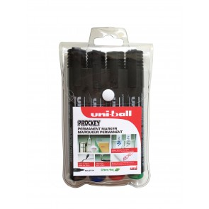 PM-122 Prockey Permanent Marker Bullet Tip 4pc Wallet Assorted