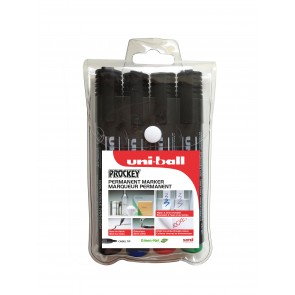 PM-126 Prockey Permanent Marker Chisel Tip 4pc Wallet Assorted