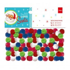 Mini Pom Poms (120pcs) - Love Santa