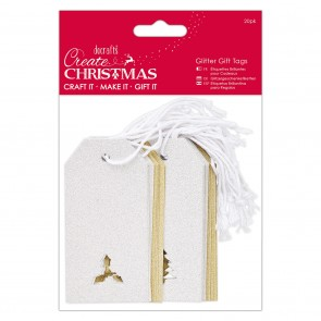 Die-cut Glitter Gift Tags (20pk) - Create Christmas - Silver & Gold