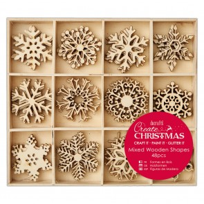Large Mixed Wooden Shapes (48pcs) - Snowflakes