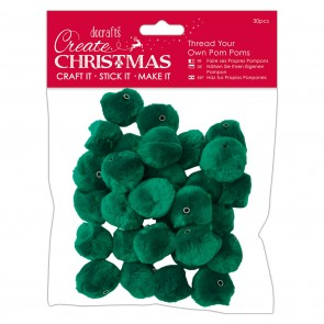 Thread Your Own Pom Poms  (30pcs) - Green