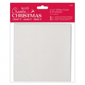 "6 x 6"" Glitter Cards & Envelopes (24pk)"