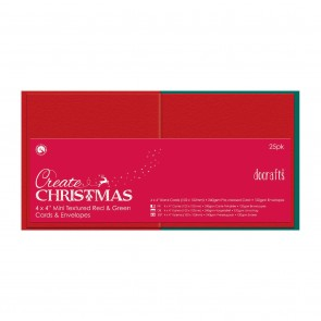 "4 x 4"" Cards/Envelopes Textured (25pk, 240gsm) - Red & Green"