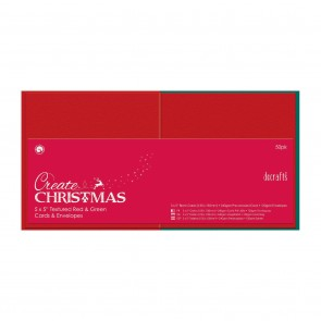 Square Cards/Envelopes Textured (50pk, 240gsm) - Red & Green