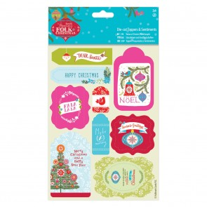 Die-cut Toppers & Sentiments Linen (2pk) - Folk Christmas
