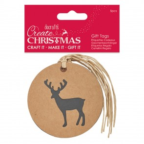 Silhouette Kraft Gift Tag (5pcs) - Stag - Create Christmas