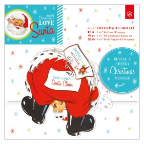 "6 x 6""  Decoupage Card Kit - Love Santa"
