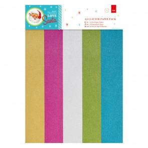 A4 Glitter Paper Pack (15pk) - Love Santa