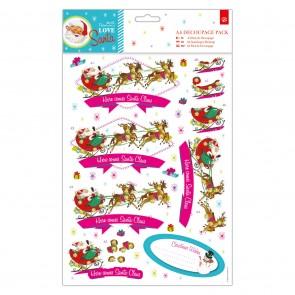 A4 Decoupage Pack - Love Santa - Santa Claus