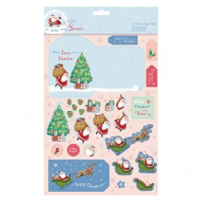 A4 Decoupage Pack - At Home with Santa - Festive Wishes