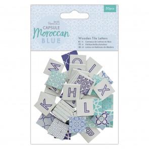Wooden Tile Letters (50pcs) - Capsule - Moroccan Blue
