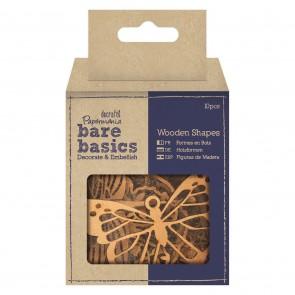Wooden Shapes (10pk) - Florals, Butterflies & Dragonflies