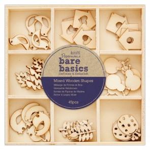 Mixed Wooden Shapes (45pcs) - Bare Basics - Autumn Garden