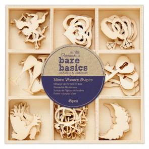 Mixed Wooden Shapes (45pcs) - Bare Basics - Wedding