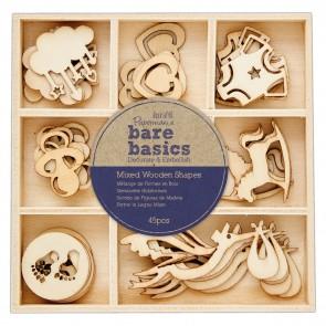 Mixed Wooden Shapes (45pcs) - Bare Basics - Baby