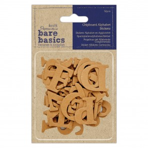 Chipboard Alphabet Stickers (52pcs) - Bare Basics