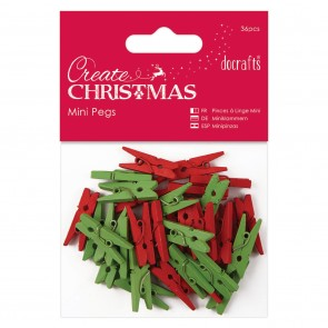 Mini Pegs (36pcs) - Red & Green