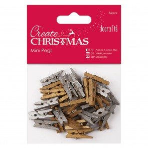 Mini Pegs (36pcs) - Gold & Silver