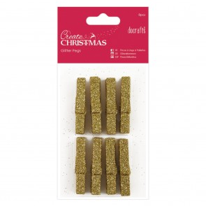 Glitter Pegs (8pcs) - Gold