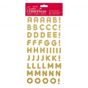 Christmas Alphabet Thicker Stickers - Gold Glitter