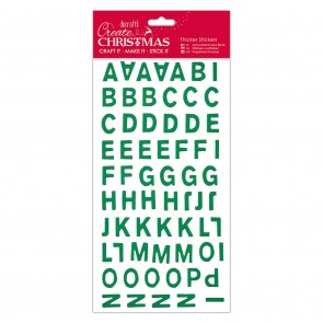 Christmas Alphabet Thicker Stickers - Green Glitter