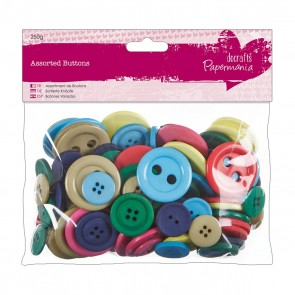 Assorted Buttons (250g) - Brights